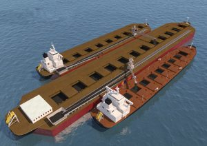 Mobidock self loading an ocean going vessel while simultaneously receiving cargo from the Transmax